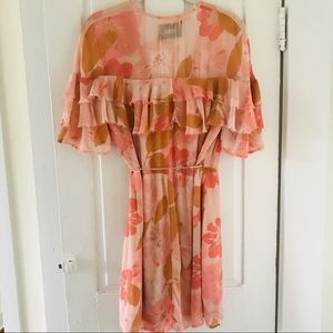 Reformation Floral Wrap Dress Pink & Coral  Small